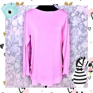 TALBOTS PINK LONG SLEEVE TUNIC BLOUSE WITH DETAILS